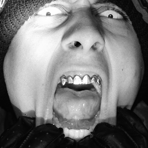 Black And White Photographic portrait featuring fangs and contact lenses by Broken Babies titled Faces Of Terror 3 of 9