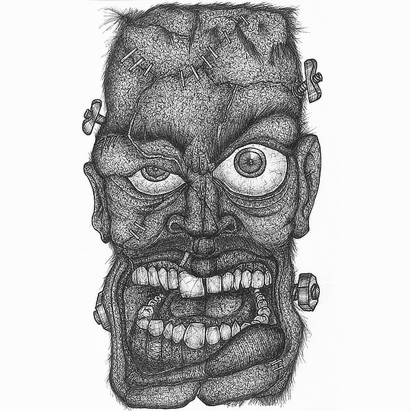 Faces Of Death: Frankenstein's Monster original pen and ink drawing by Broken Babies - a detailed portrait of Frankenstein's Monster