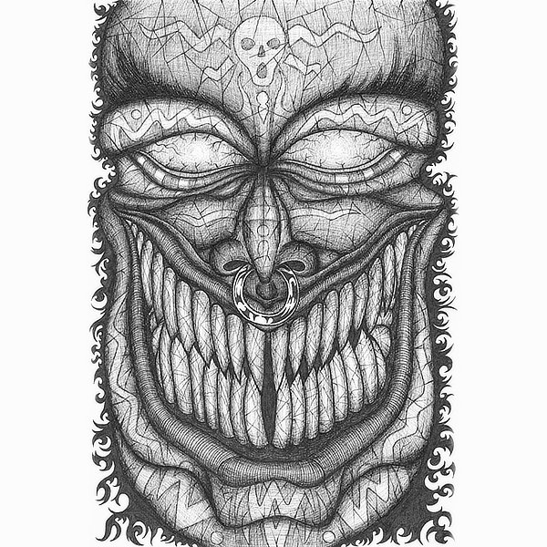 Faces Of Death: Ghoul original pen and ink drawing by Broken Babies - a detailed portrait of a ghoul