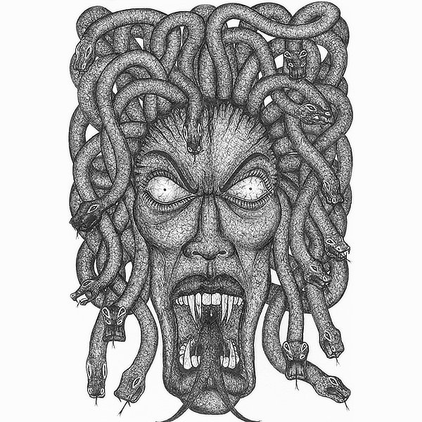 Faces Of Death: Medusa Original Drawing by Broken Babies - a pen and ink portrait of Medusa