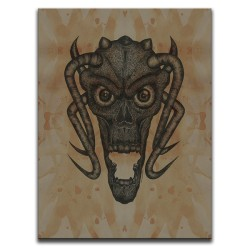 Buy Blood-Stained Faces Of Death Demon Brown Canvas Art