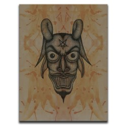 Buy Blood-Stained Faces Of Death Devil Brown Canvas Art