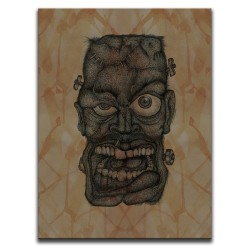 Buy Blood-Stained Faces Of Death Frankenstein's Monster Brown Canvas Art