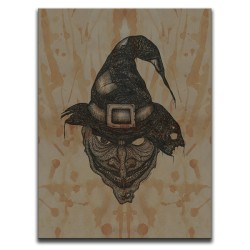 Buy Blood-Stained Faces Of Death Witch Brown Canvas Art