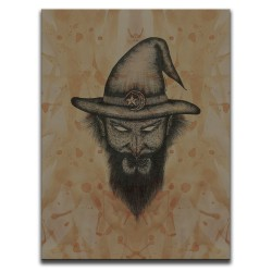 Buy Blood-Stained Faces Of Death Wizard Brown Canvas Art