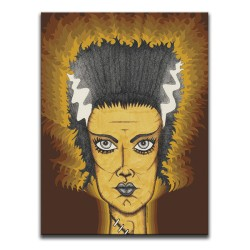 Buy Classic Horror Bride Of Frankenstein Brown & Orange Canvas Art