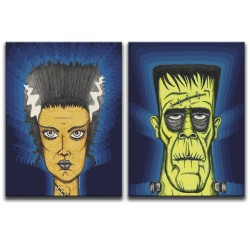 Buy Classic Horror Frankenstein & Bride Of Frankenstein Canvas Art Diptych