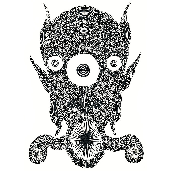 Faces Of Death: Alien Original Drawing by Broken Babies - a pen and ink portrait of an aquatic alien with three eyes