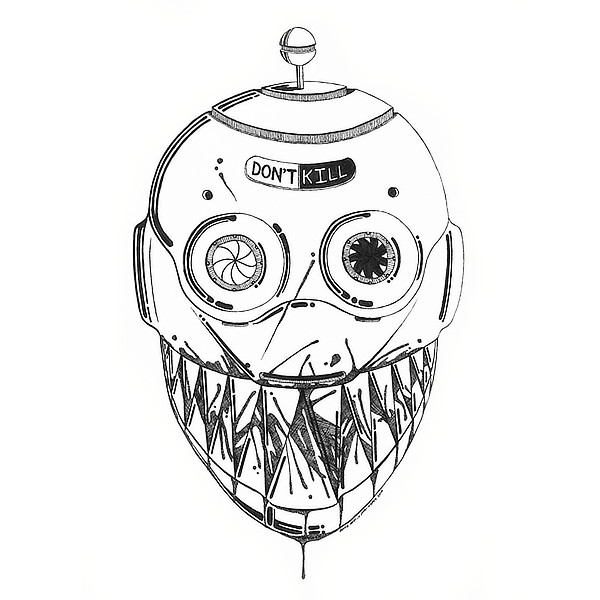 Faces Of Death: Robot Original Drawing by Broken Babies - a pen and ink portrait of a malfunctioning robot covered in blood