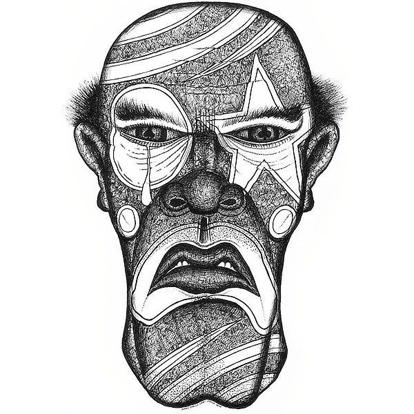 Faces Of Death: Serial Killer Original Drawing by Broken Babies - a pen and ink portrait of a serial killer wearing clown makeup