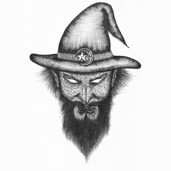 Faces Of Death: Wizard Original Drawing by Broken Babies - a pen and ink portrait of a wizard with a beard
